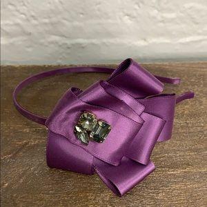 J.Crew Purple Embellished Flower Skinny Headband